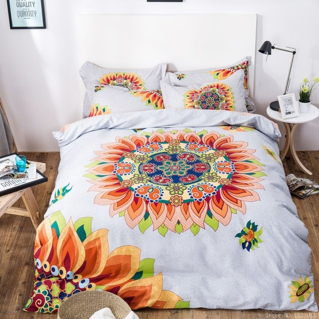 Oriental Style Printing Sunflower Bedding Set Cotton Bed Sheets Girls  Bedspreads Queen Comforter