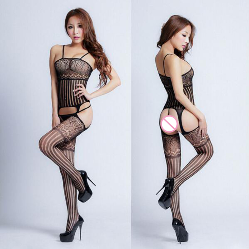 Sexy Lingerie Lace Black Temptation Perspective Sexy Hollow Out Transparent Sling Costume Netting Siamese Women font