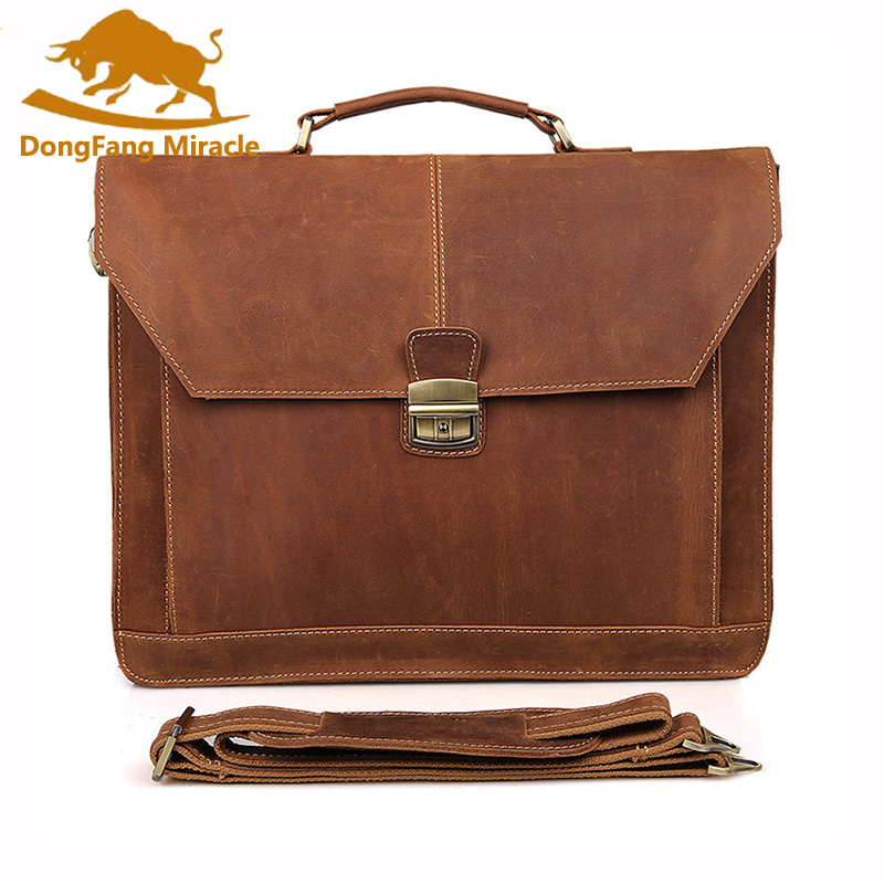 New Arrival Men's Business Vintage Genuine Leather Handbags Men Crazy Horse Leather Messenger Bag Briefcase Multifuctional Bags