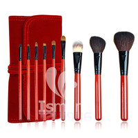 Red Makeup Brush Set New Goat Hair Nylon Wood Handle Aluminum Ferrule 9pcs