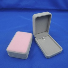 High Quality Beige Color Square Velvet Box For Pendant & Necklace Jewelry Gift Boxes Packaging