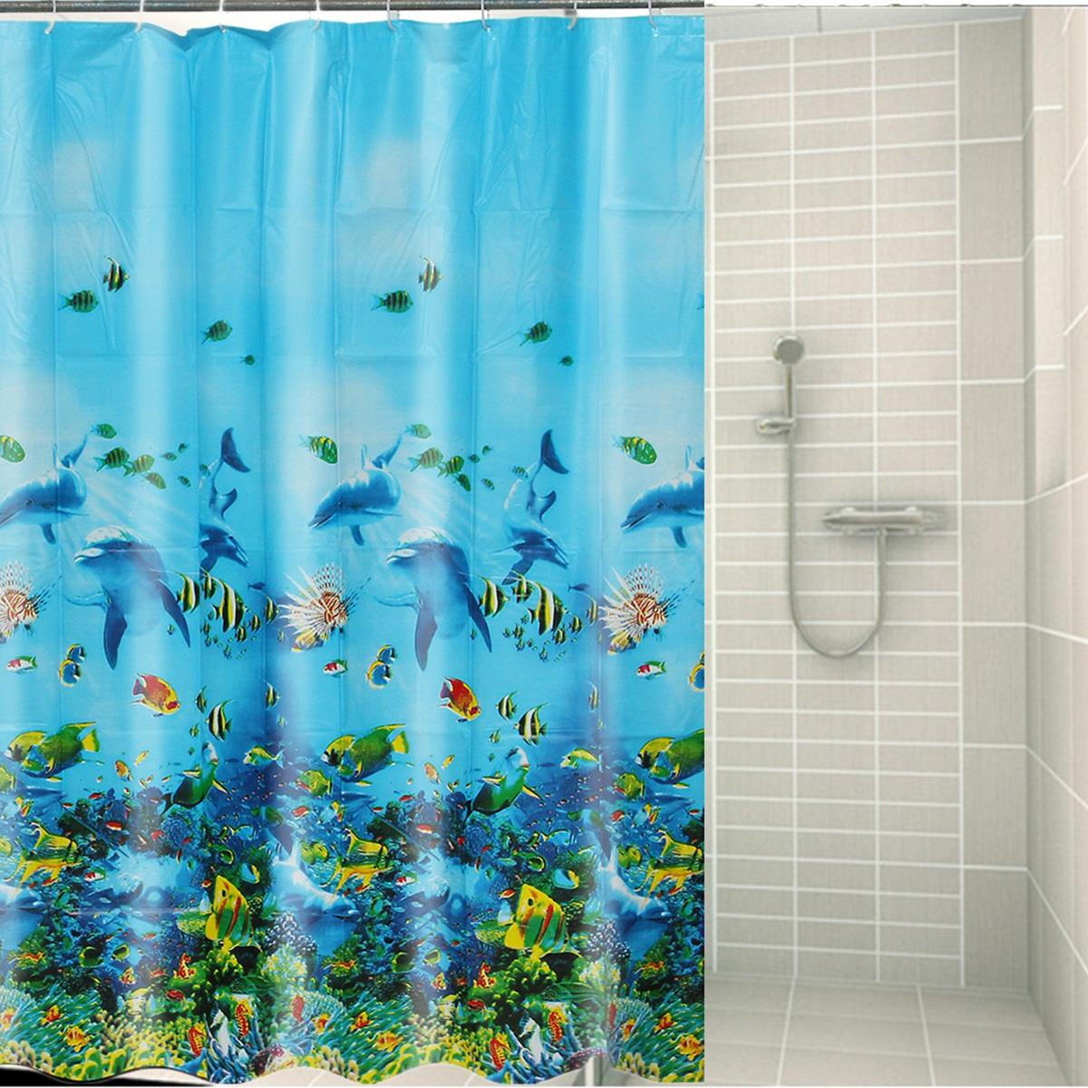 Blue EVA Ocean World Shower Curtain 180x180cm Waterproof Mouldproof Shower  Bath Curtain + 12 Hooks Home Bathroom Decor Supplies In Curtains From Home  ...