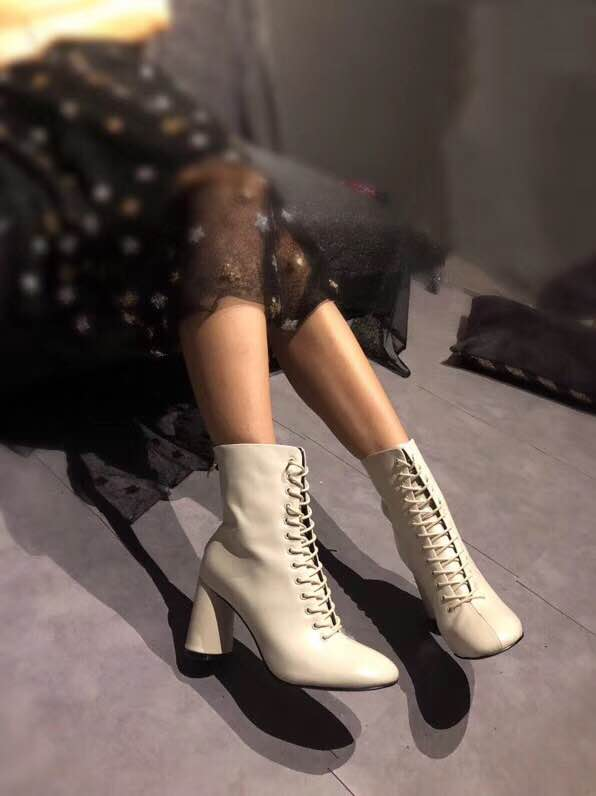 SKYYUE Top Quality Genuine Leather Gladiator Lace Up Women Winter Boots Round Toe 8.5CM HIgh Heel Boots Shoes Women artka women s winter vintage solid round toe all match high heel lace up soft genuine leather shoes pre sale xd16832d