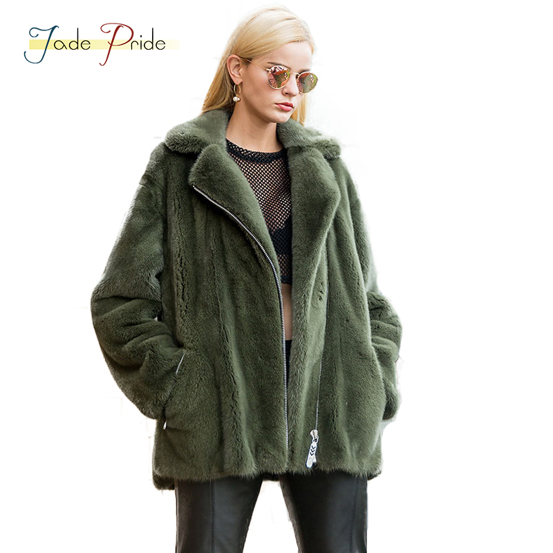 jade pride 2018 New Locomotive Jacket With Zipper Women`s Real Velvet Mink Fur Coat Turn-down Collar Thick Warm Mink Fur Coats