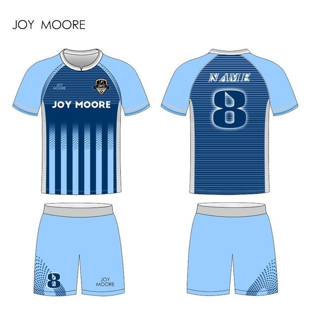 c6570789d Custom made azul listras camisas De Futebol dos homens colégio personalizado  camisas de futebol uniformes kits