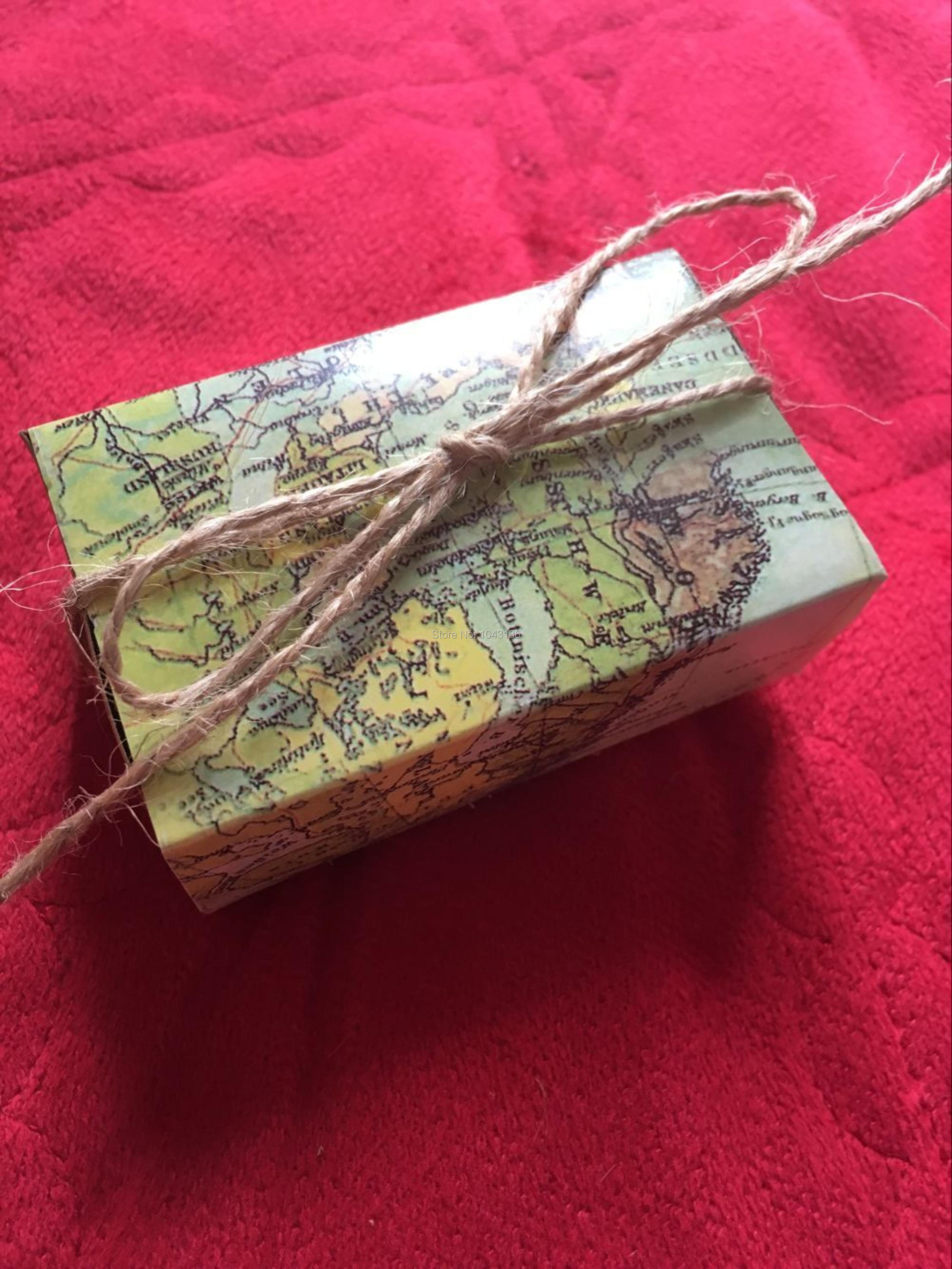 Around The World Map Favor Box For Traveling Theme Wedding