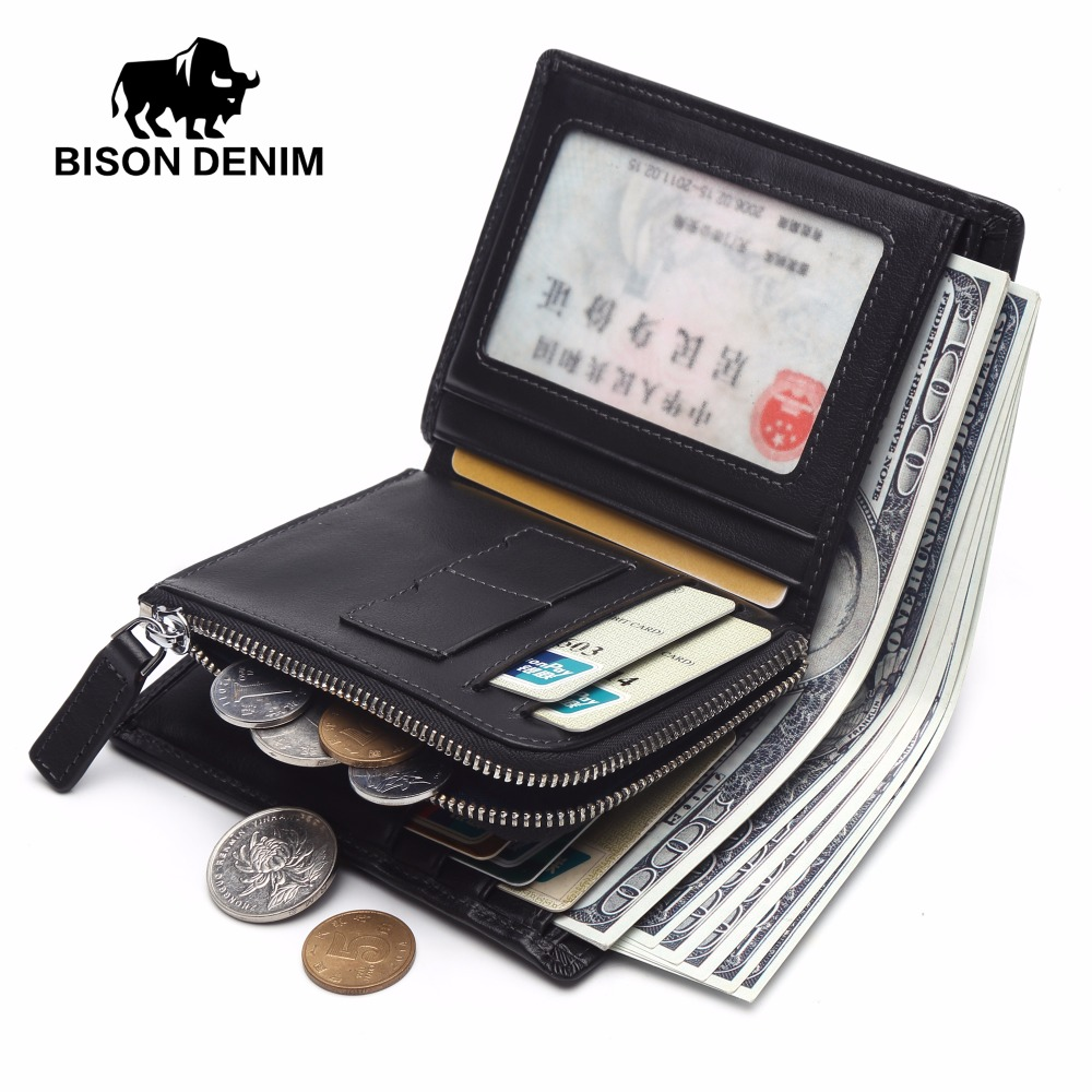 BISON DENIM Luxury Genuine Leather Wallet Mens Coin Purse Walet Short Wallet With Zipper Money Card Holder Clutch Wallets N4442