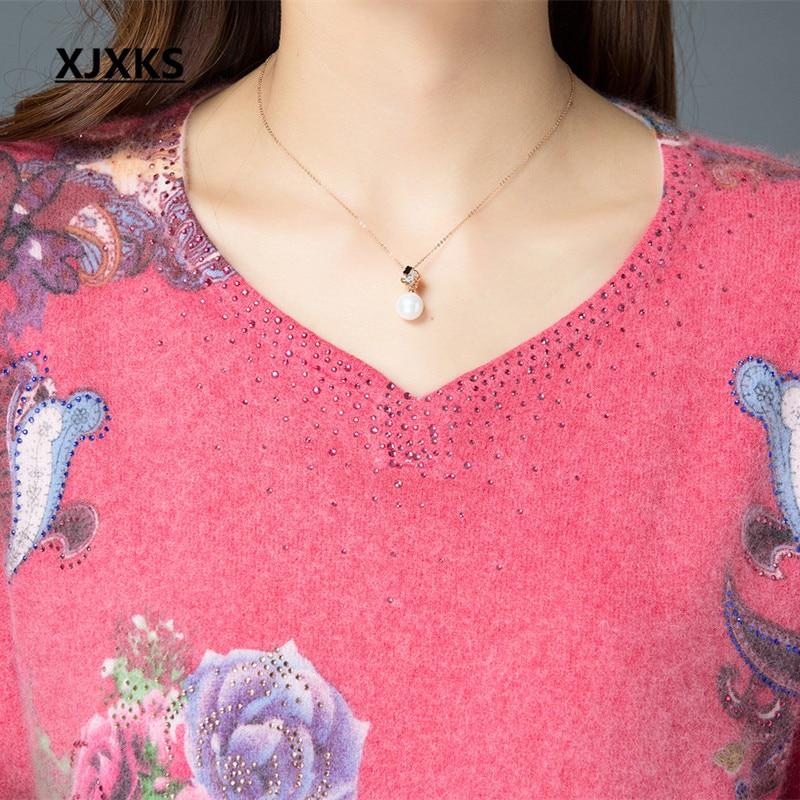 Imprimer Rose Plus Nouvelles Mode Taille 2018 Haute La Lâche Pull Diamant Xjxks Chandail De Femmes Qualité Hiver wRqaH6