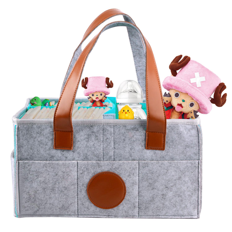 Swiftgood Felt Diaper Storage Bag Baby Diaper Caddy Portable Nursery Storage Bin Car Travel Bag Baby Wipes Bag