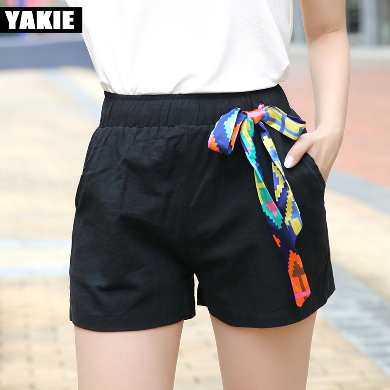 Hot Sale High Waist Shorts Women Candy Colors Cotton Loose Sashes Elastic Waist 2017 Summer New