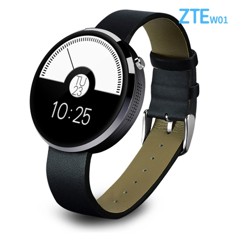 Round ZTE W01 Smart Watch Bluetooth 4.0 Intelligent Page Turning Audio Recording Heart Rate Monitoring Waterproof IP54 рулетка flexi vario s трос бирюзовый 5м до 12кг page 1