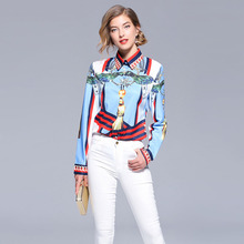 European style retro print lapel women's Shirts New 2018 autumn runways card print Shirt blouses Tops D192