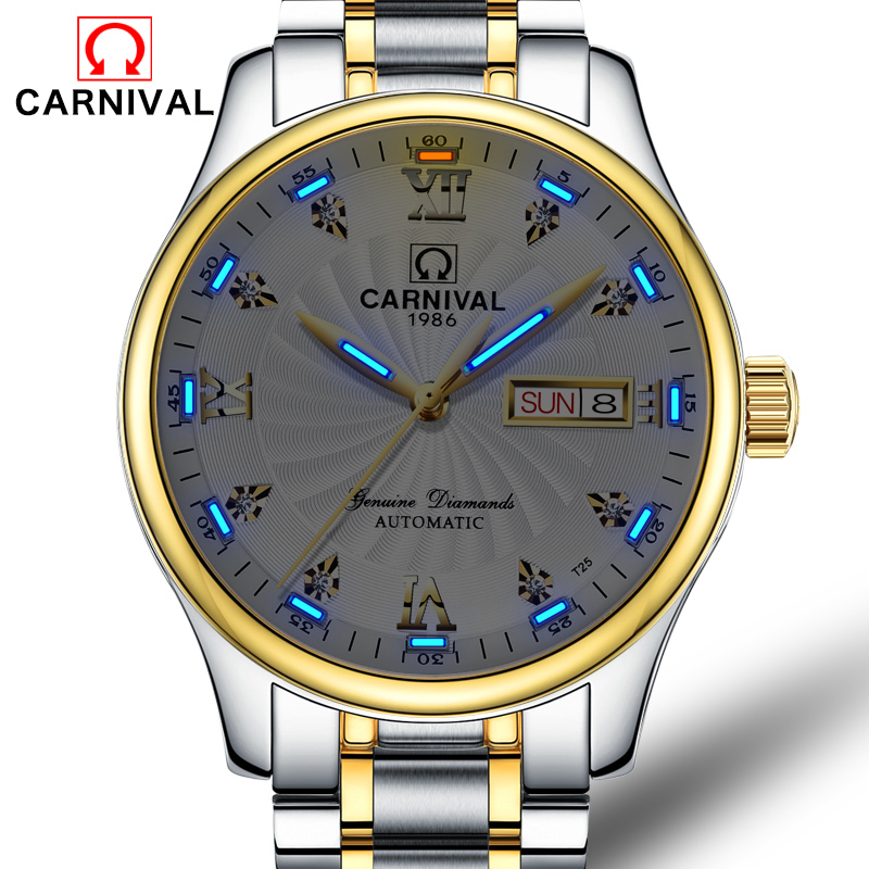 Carnival Blue Tritium Watch Men Automatic Mechanical Luminous Silver Stainless Steel Waterproof Date Week Watches carnival green tritium watch men automatic mechanical luminous silver stainless steel waterproof date week watches