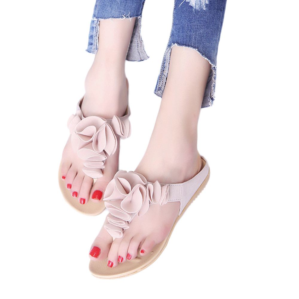 все цены на Women's Summer Beach Flip Flops Casual Flat Shoes Lady Pretty Floral Sandals Luxury Brand Chaussures Femme Comfortable Sapato