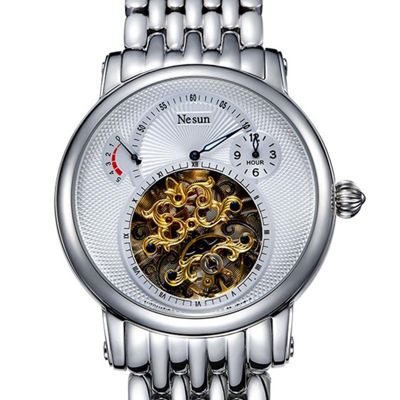 Suisse Marque De Luxe Nesun Creux Tourbillon Hommes Automatique Mécanique Hommes de Montres Saphir Étanche horloge N9081-2