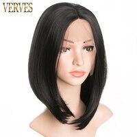 Черный парик волос с кружевом verves Искусственные парики для афроамериканцев Для женщин высокое twmperature волокна Боб Стиль Бесплатная доставка