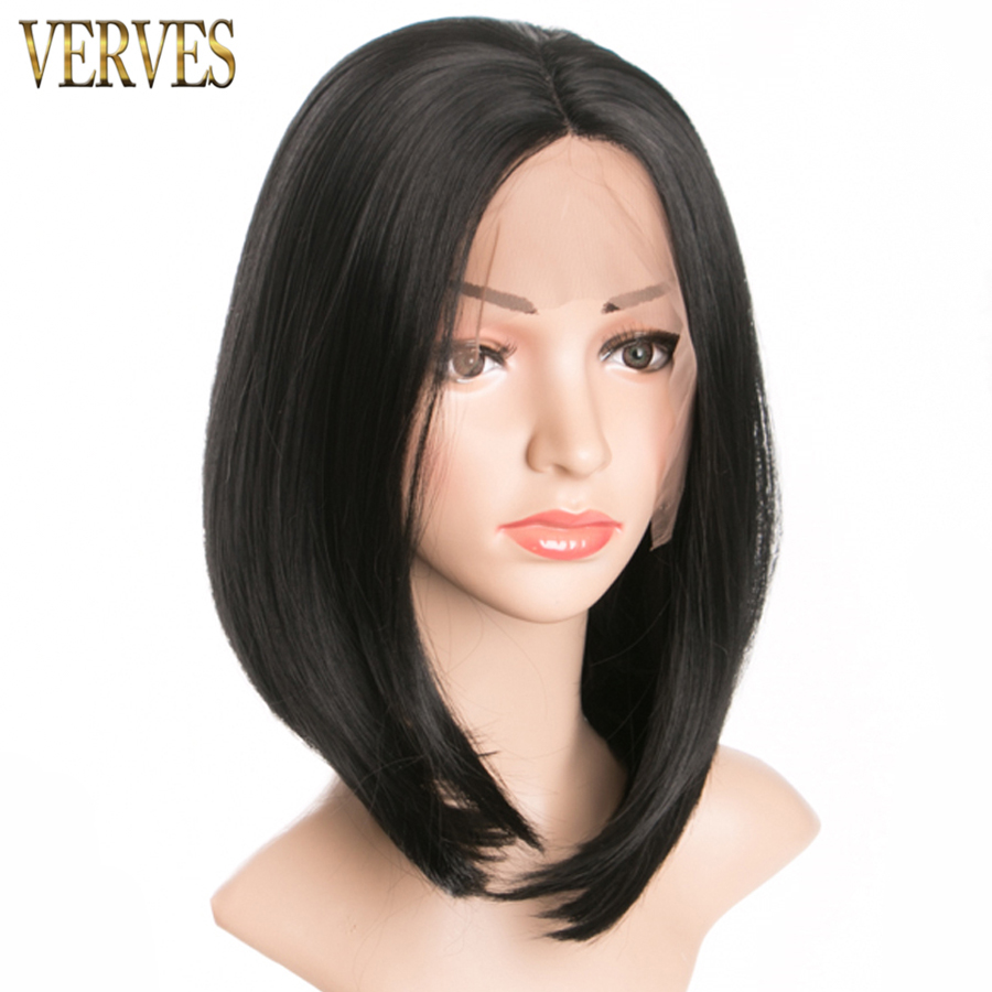 black Wig hair with lace VERVES Synthetic Wigs for African American Women high twmperature fiber bob style free shipping