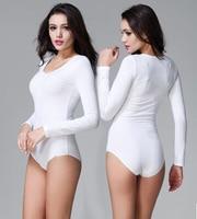 Sexy Women Cotton Jumpsuit Long sleeve Bodysuit Leotard One Piece Top T shirt Tee