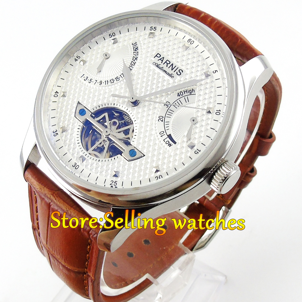 лучшая цена Parnis 43mm White dial power reserve movement date brown strap Automatic movement Men's watch