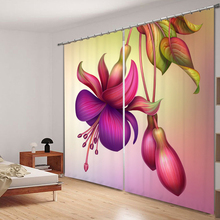 цена на Customize 3D Blackout Curtains Exotic Colored Flowers Pattern non-fading Fabric Girl Bedroom Curtains for Living Room Cafe Hotel