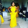 New African Bridesmaids Dresses Long Yellow Jersey Bridesmaid Gowns With Peplum vestido longo SAU386