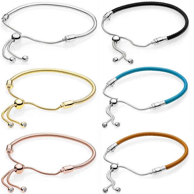 1941781be ... where to buy moments leather rose with adjustable sliding clasp bracelet  fit pandora snake bangle 925