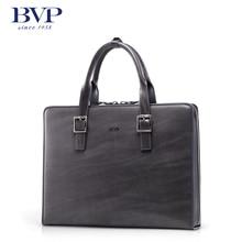 BVP High-end Men Genuine Real Leather Vntage Briefcase Laptop Attache Portfolio Document File Business Bag Gray Handbag T1017