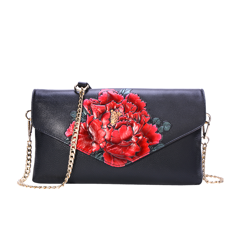 New Arrival Women Flower Evening Clutch Bag Lady Genuine Leather Chain Messenger Bag Big Floral Leather Crossbody Handbag FemmesNew Arrival Women Flower Evening Clutch Bag Lady Genuine Leather Chain Messenger Bag Big Floral Leather Crossbody Handbag Femmes