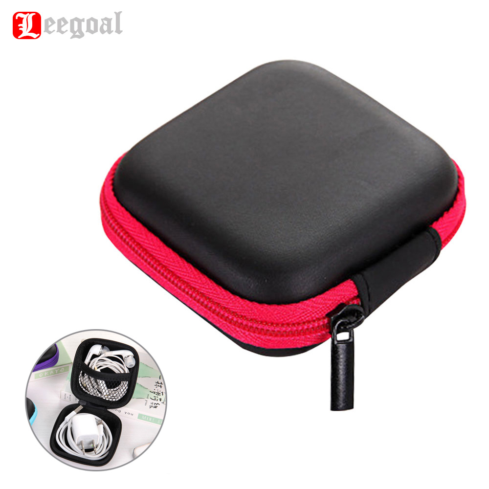 Leegoal Mini Zipper Hard Headphone Case Portable Earbuds Pouch box PU Leather Earphone Storage Bag Protective Cable Organizer стоимость