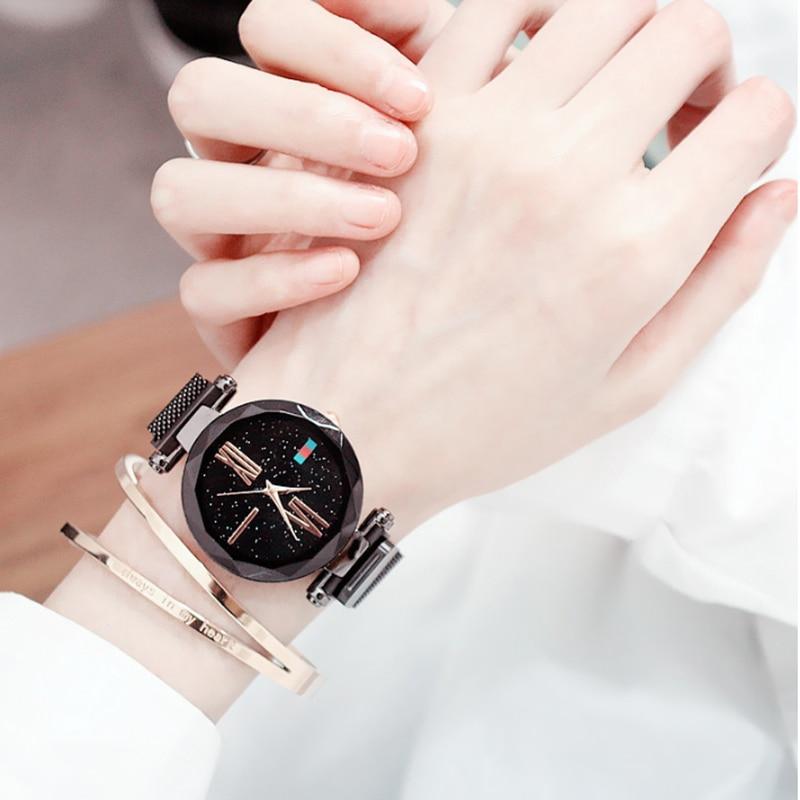 Women watch Fashion wild Starry sky Watch Milan Magnet Buckle Luxury Fashion Ladies Geometric Roman Numeral Quartz Watch in Women 39 s Watches from Watches
