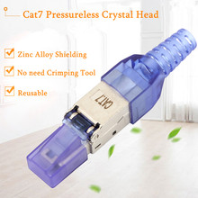 5PCS CAT7 Ethernet Shielded Crystal Head Reusable Type Crystal Head RJ45 Ethernet Cable Adapter 10 Gigabit High Quality