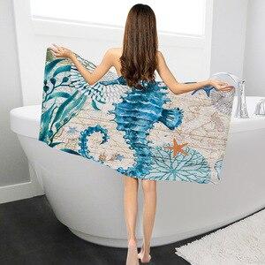 Полиэфирные пляжные полотенца для взрослых, женщин, детей, коврик для пикника, морская черепаха, принт, банные полотенца, мультяшный осьмино...