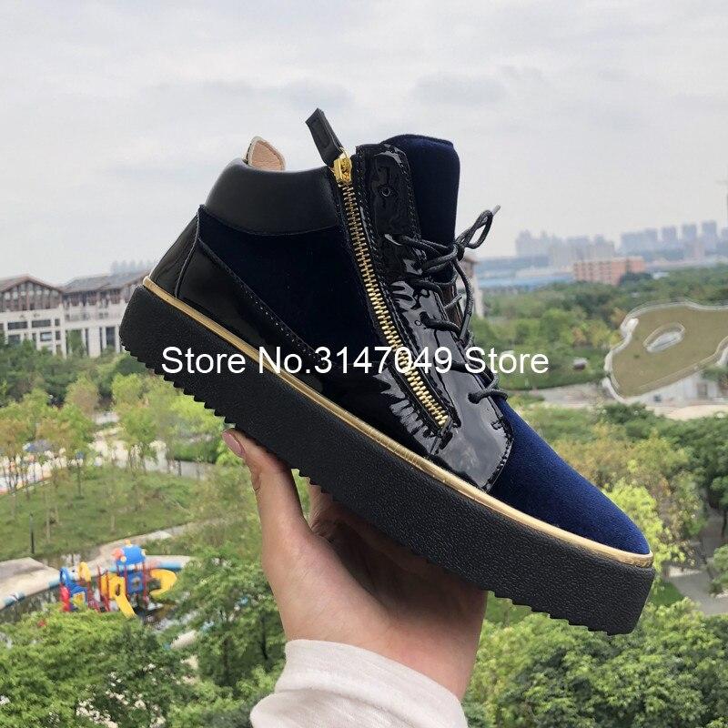 Lace Up Mannen Patent Schoen Gemengde Kleuren Sneakers Goud Omzoomd Casual Schoenen Hoogte Toenemende Schoenen Mannen Blauw Dikke Zool Trainers 46 - 6
