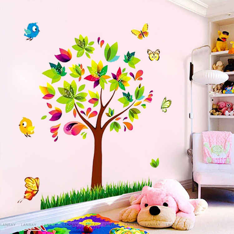 zooyoo Tree Birds Vinyl Mural DIY Wall Sticker Home Decor Wall Decals For Kids Room Baby Nursery Room Decoration