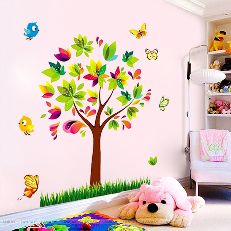 Us 2 49 12 Off Zooyoo Tree Birds Vinyl Mural Diy Wall Sticker Home Decor Wall Decals For Kids Room Baby Nursery Room Decoration In Wall Stickers