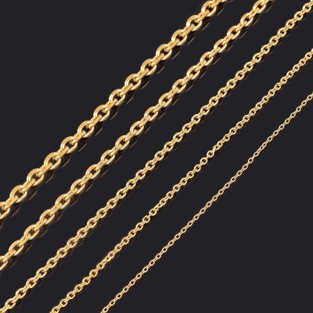 1.5/2.4/3/4/5mm Mens and Women Cuban Chain Fashion Gold Tone Stainless Steel Oval Necklace Top quality Fashion Jewelry