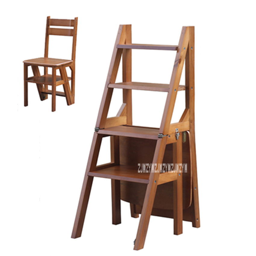 Multi Functional Four Step Library Ladder Stool Solid Wood Ladder