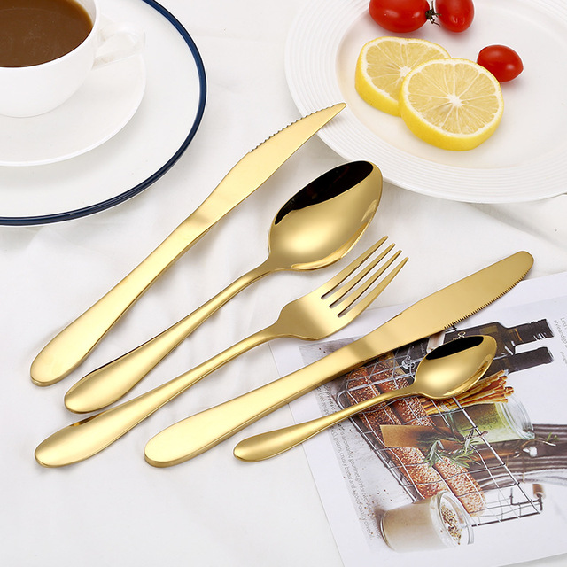 Rainbow Cutlery Set  304 Stainless Steel Blue Flatware Set  Western Food Colorful High Quality Dinnerware Set  dropshipping