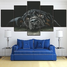 Canvas Painting Wall Art Print Picture Home Decor Framework 5 Piece Artistic Dog Animal Rottweiler Poster For Modern Living Room
