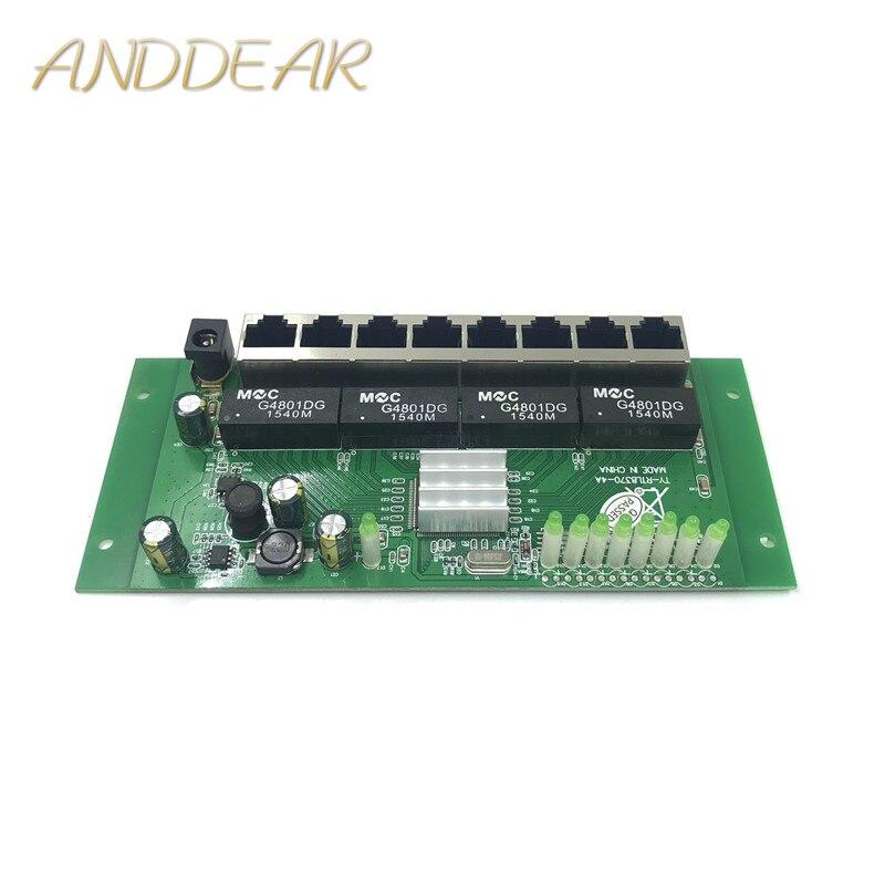 8-port Gigabit switch módulo é amplamente utilizado em linha LED porta 8 10/100/1000 m entre em contato com porta mini switch módulo PCBA Motherboard