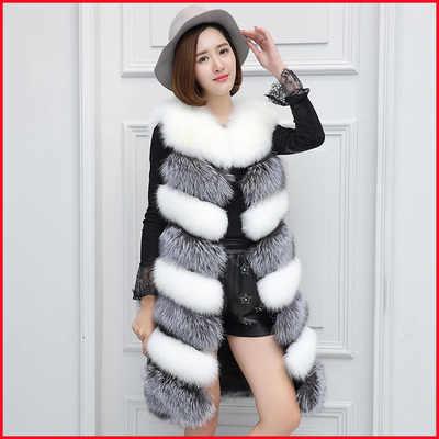 Норки Для женщин из искусственного меха пальто 2018 толстые полным ходом Черный и Белый искусственного меха лисы длинный зимний жилет для Для женщин J187