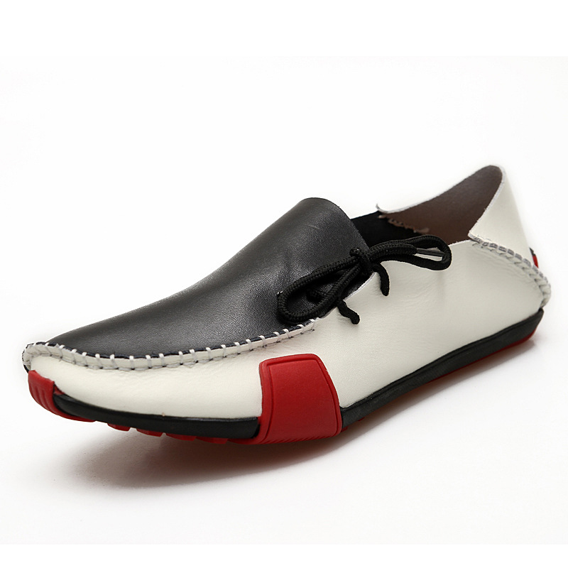 GOXPACER Nouveau Printemps Et D'été Hommes Chaussures Talon Plat Laçage Appartements Casual Respirant En Cuir Véritable Chaussures De Mode Mâle Slip Sur