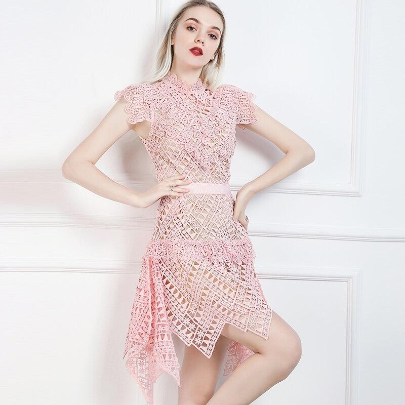 Selbst Porträt 2019 Frühjahr Neue Ärmellose Süße Rosa Spitze Kleid Frauen Niedliche Unregelmäßige Spitze Party Kleider vestidos - 3
