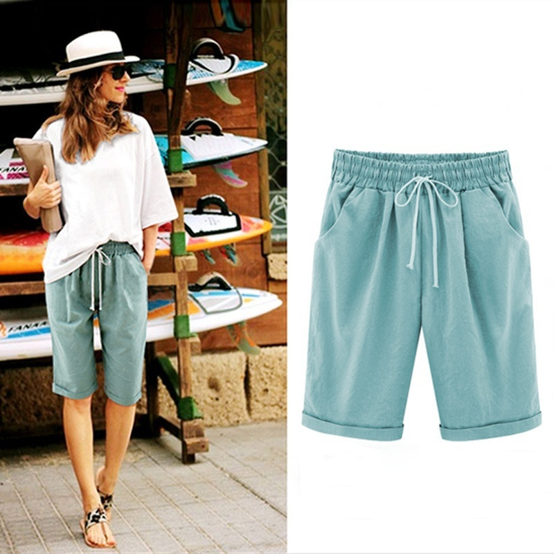 Women Lady Pirate Pants Casual Elastic Waistband Loose With Pocket Fashion For Summer -MX8