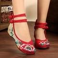 Flor de la manera de Las Mujeres Zapatos de Baile Retro Zapatos Mary Jane Zapatos de Los Planos Ocasionales del Estilo Chino Bordado de Tela