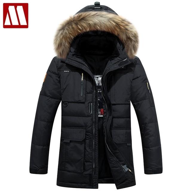 2018 мужская толстые теплые зимние мягкие пальто мужской пуховик тонкой Длинные Multi-pocket утка пальто военные куртки большой размер, мужские парки