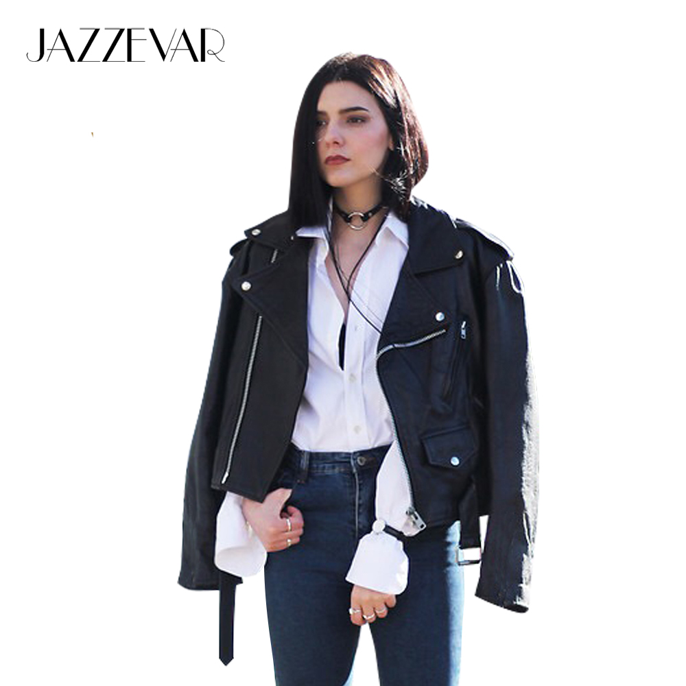 Jazzevar 2019 New Autumn High Fashion Street Women Short Washed PU   Leather   Jacket Zipper Bright Colors New Ladies Basic Jackets