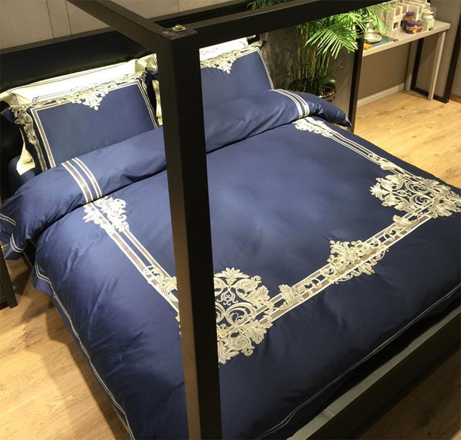 Elegant royal bordado juego de cama doble, 100 s rey tamaño inusual palacio de l