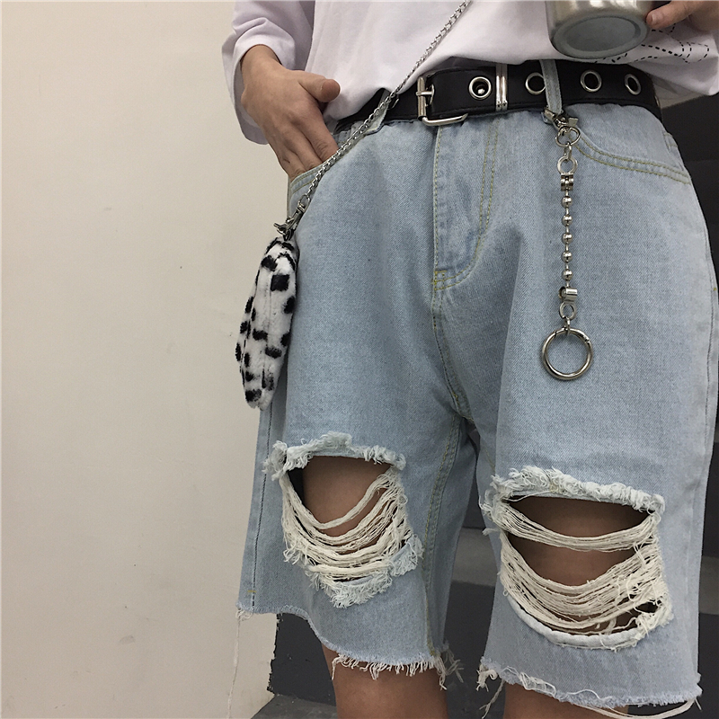 Harajuku Pants Women High Waist Knee Length Bf Ripped   Jeans   2019 New Ins Fashion Loose Casual   Jeans   for Female