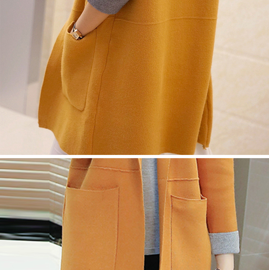 TIGENA Long Cardigan Female 2018 Autumn Winter Women Long Sleeve Cardigan Sweater Knitted Cardigans For Women Jacket Tops 21